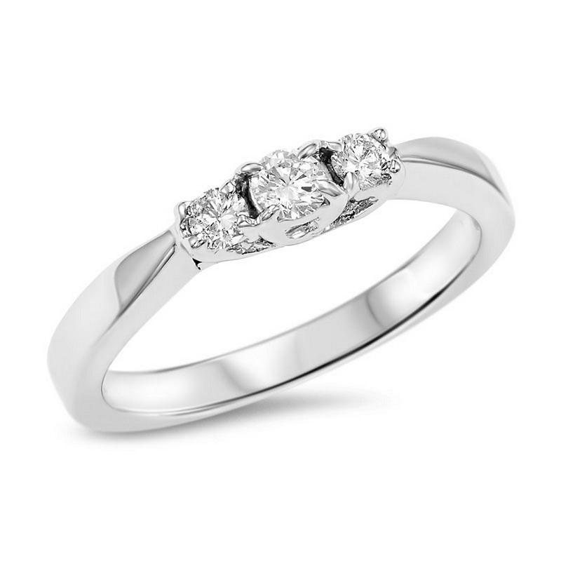 14K Diamond 3 Stone Ring 1/4 ctw
