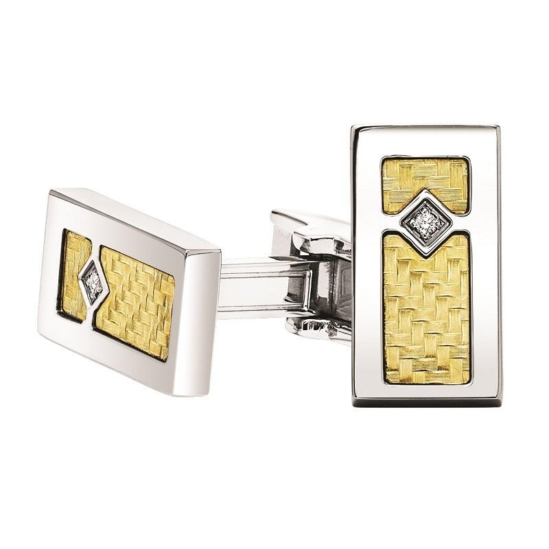 Steel and 18K Inlay Diamond Cufflink