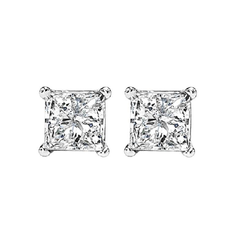 14K P/Cut Diamond Studs 3/4 ctw P3