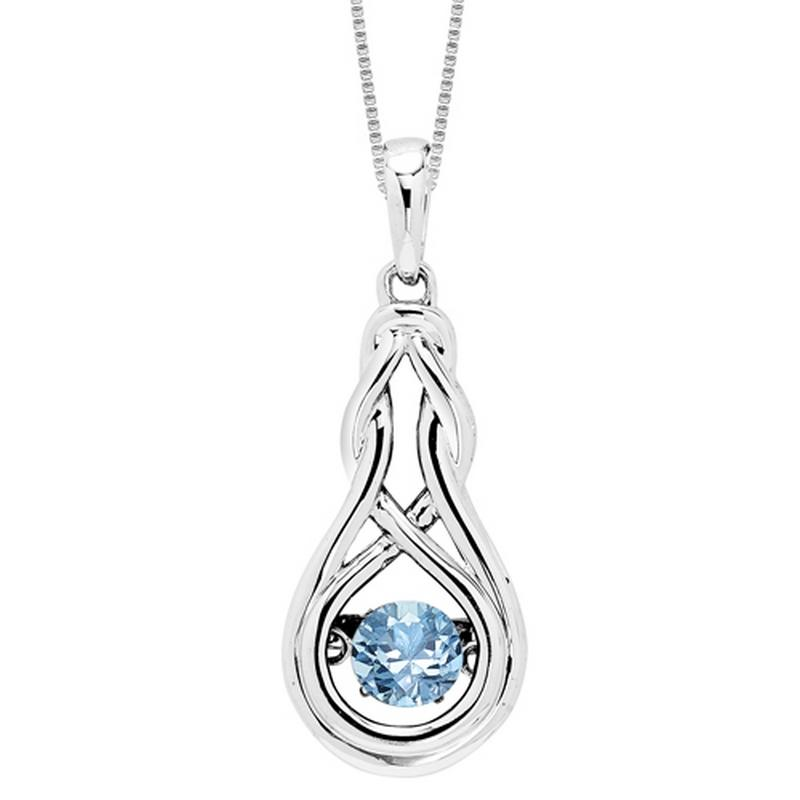 Silver Created Blue Topaz Rhythm Of Love Pendant