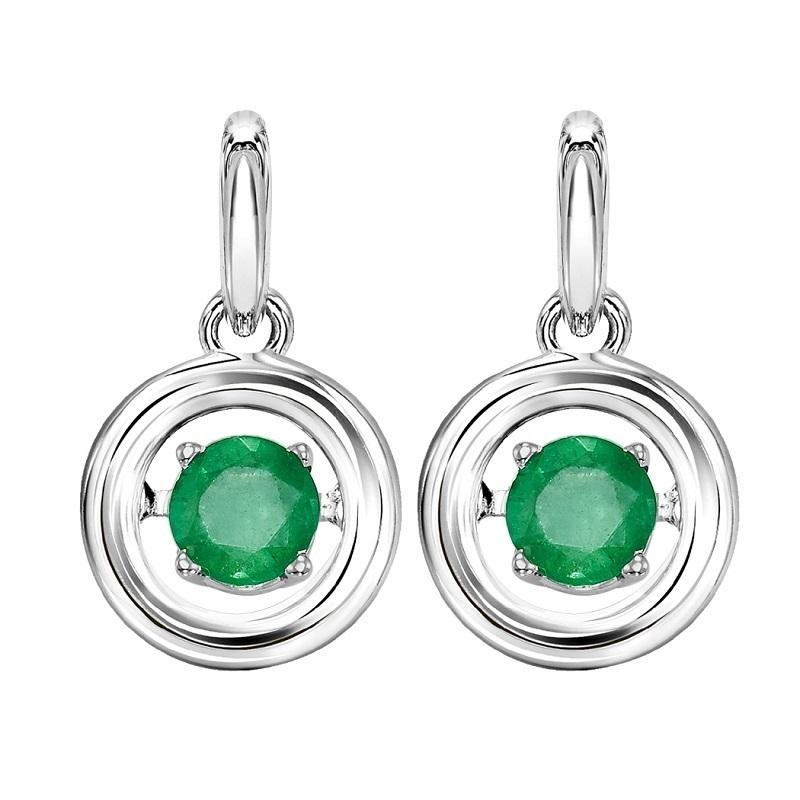 Silver Emerald Rhythm Of Love Earrings