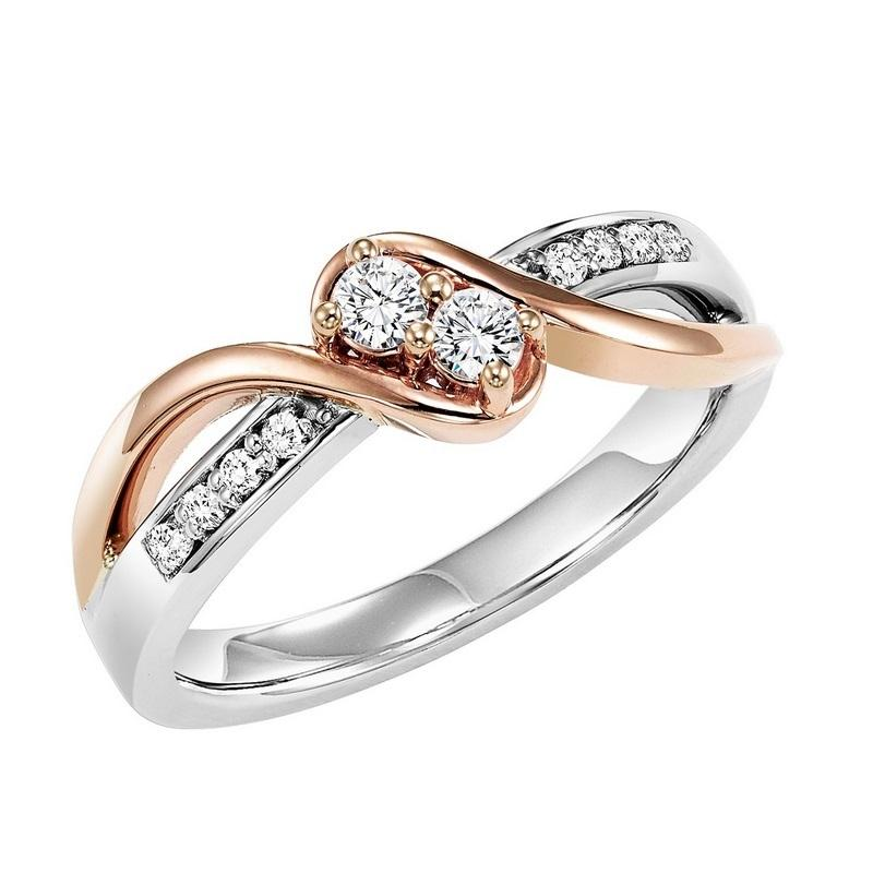 14K Diamond Two Stone Ring 3/4 ctw