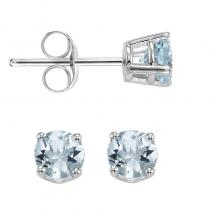 14K Aquamarine Studs 4 mm Rd