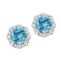 Silver with Round Blue Topaz Earrings