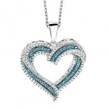 Silver Blue Diamond Pendant