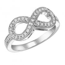 Silver Diamond Infinity Ring 1/4 ctw