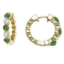 14K Emerald & Diamond Earrings