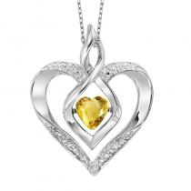 Silver Diamond & Created Citrine Pendant
