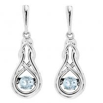 Silver Created Aquamarine Rhythm Of Love Earrings