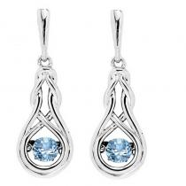 Silver Created Blue Topaz Rhythm Of Love Earrings