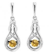 Silver Created Citrine Rhythm Of Love Earrings