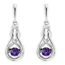 Silver Created Amethyst Rhythm Of Love Earrings
