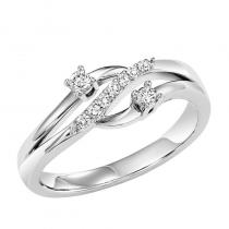 14K Diamond Two Stone Ring 1/7 ctw