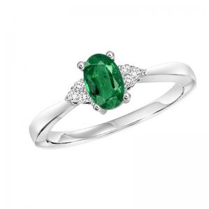 10K Emerald & Diamond Ring