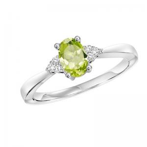 10K Peridot & Diamond Ring