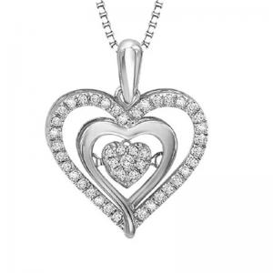 Silver & 10K Diamond Rhythm Of Love Pendant 1/5 ctw