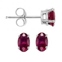 14K Ruby Studs 5X3 mm Ov