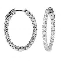 14K Diamond Inside Out Earrings Oval 3 ctw