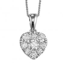 14K Diamond Pendant 1 ctw Heart Shape