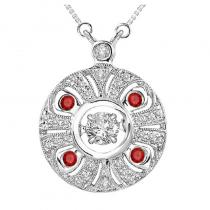 14K Ruby & Diamond Rhythm Of Love Pendant