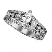 14K Diamond Engagement Ring 1/5 ctw with 1/2 ct Center