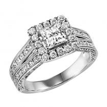 14K Diamond Engagement Ring 1 ctw with 3/4 ct Center