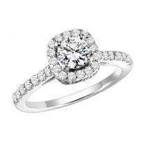 14K Diamond Engagement Ring 5/8 ctw with 1/2 ct Center